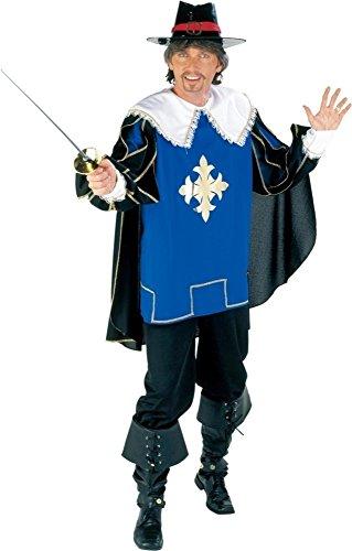 KARNEVALS-GIGANT Musketier Kostüm schwarz-blau-weiß für Herren   Größe 58   2-teiliges Ritter Kostüm für Karneval   Mittelalter Faschingskostüm für Männer
