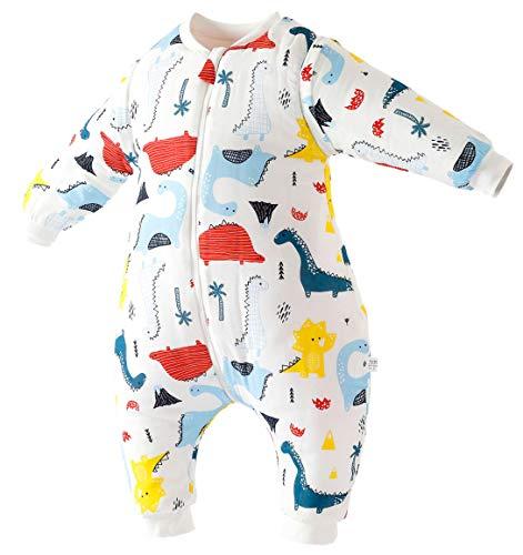 Chilsuessy Ganzjahres Schlafsack mit Fuessen Baby Winter Schlafsack abnehmbar Langarm Winterschlafsack fuer Junge und Maedchen 2.5 Tog (90/Koerpergroesse 90-100cm, Gemalter Dino)