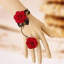 Fünf Season 1 Stück Im Retrostil, Handgefertigt, Schwarze Spitze Vampir Slave Armband mit Stoffblume Und Rot, Harz, Gothic Style 2