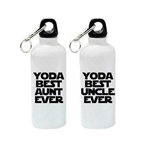 Aunt Ever and Yoda Best Onkel Ever Lustige weiße Sport-Trinkflasche aus Aluminium, 600 ml Set ()