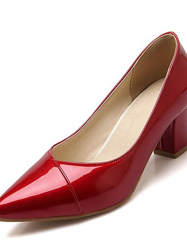 WSS 2016 Chaussures Femme-Mariage / Habillé / Décontracté / Soirée & Evénement-Noir / Rose / Rouge / Beige-Gros Talon-Talons-Talons-Similicuir red-us3.5 / eu33 / uk1.5 / cn32