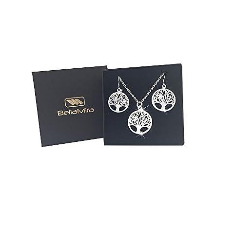 BellaMira 925 Silver Plated Tree of Life Pendant (30mm) & Earrings (24mm) Jewellery Set