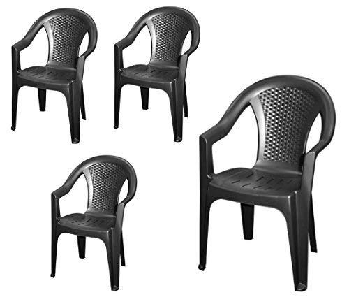 Stapelbarer Gartenstuhl in anthrazit - 4er Set - Monoblock in Rattan Optik aus Kunststoff -...