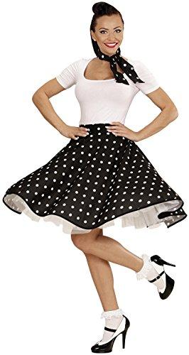 Widmann 01076 - Erwachsenenkostüm 50s Rock'n'Roll Girl, Polka Dot Rock und Halstuch, schwarz, Einheitsgröße