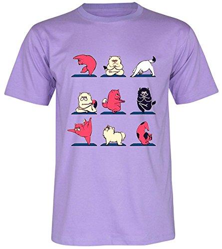 PALLAS Unisex's Persian Cat Yoga Gift Funny T-Shirt Purple