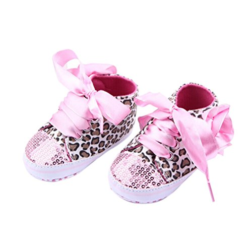 LEORX Paar Von Niedlichen Baby Mädchen Leopard Muster Dekor Prewalkers Schuhe (Rosa)