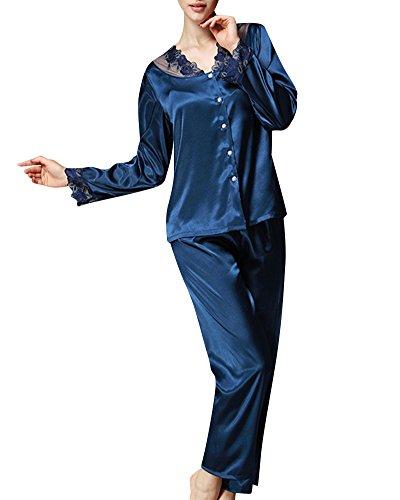 Femmes Ensemble pyjama en satin Dentelle élégante lingerie classiques Marine X-Large