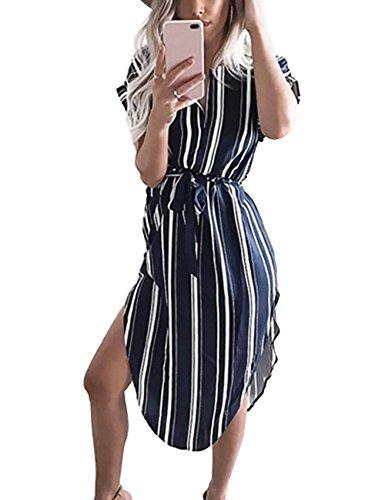 Yieune Sommerkleider Damen Kurzarm V-Ausschnitt Blumenmuster MaxiKleider Abendkleid Lange Weiß Strandkleid (Marine Streifen XS) (Kurzarm-abdeckung)