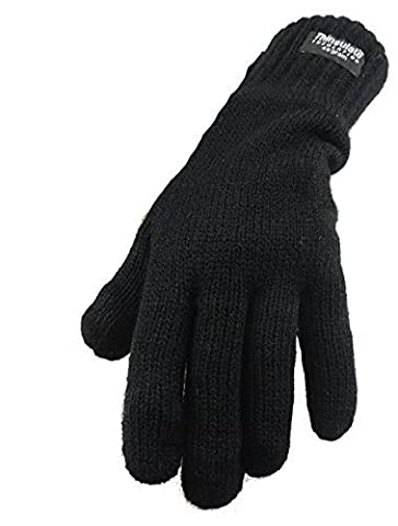 Ladies Knit Thinsulate Warm Winter Lined Gloves Black