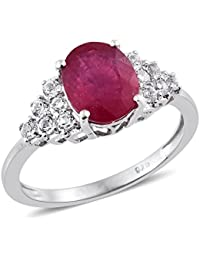 TJC Women 925 Sterling Silver Cushion Morganite Quartz Solitaire Ring Size Q