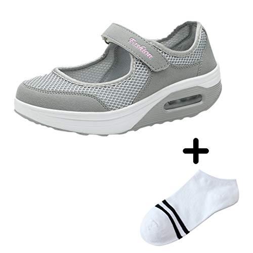 LILIHOT Frauen leichte atmungsaktive Mesh-Schuhe erhöht Freizeitschuhe Outdoor Casual Sportschuhe Dickes Ende Erwachsene Straße Laufen bequem ultraleichte Mode Luftpolster Schuhe -