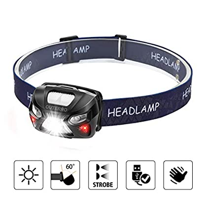 Head Torch,OUTERDO Sensor Headlamp (210LM 6 MODES) Head Lights LED USB Rechargeable with Super Bright White Light & Warn Red Light for Reading, Working, Camping, Walking, Waterproof Gesture sensing 2