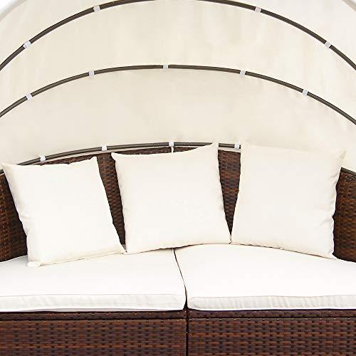 Miadomodo Hochwertige Polyrattan Ø 180 cm Sonneninsel Lounge Liege (Farbwahl) inkl. Kissen, Sitzauflage und Sonnendach (Braun) - 6