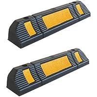 RWS-225x2 Tope para rueda de goma para estacionar en estacionamientos comerciales y domésticos y garajes privados, de color negro-amarillo, dimensiones 60x12x10 cm (paquete de 2)
