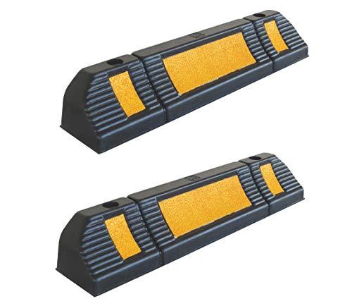 SNS SAFETY LTD RWS-225 Gummi Radstopp-Parkbegrenzung für gewerbliche und Private Parkhäuser, Parkplätze und Privatgaragen, Farbe Schwarz-Gelb, Abmessungen 60x12x10 cm (2er Pack)
