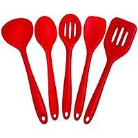 joyoldelf 5 Piezas Silicona Cocina Hornear Set - espátulas, cucharas y Turner - Resistente al