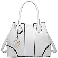 Miss Lulu Look de cuero Bolso de hombro Diseño elegante Manija superior Moda Bolsos de mano para mujeres (blanco)