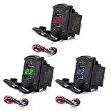 MIUSON Quick Charge 3.0 Dual USB Wippschalter QC 3.0 Schnelles Ladegerät LED Voltmeter für Boote Auto LKW Motorrad Smartphone Tablet