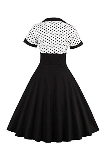 Le Donne Sono Vintage Degli Anni '40 A Pois Tunica Midi Swing Il Vestito Della Festa Black