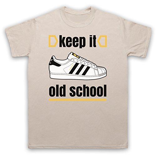 Keep It Old School Retro Superstar Slogan Herren T-Shirt Beige