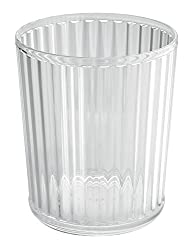 Mdesign Acrylic Waste Paper Basket - Strong Plastic Rubbish Bin - Waste Bin For The Office, Bathroom Or Bedroom - Clear