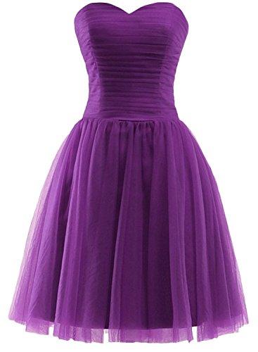 Azbro Women's Fashion Solid Color Off Shoulder Mesh Dress purple