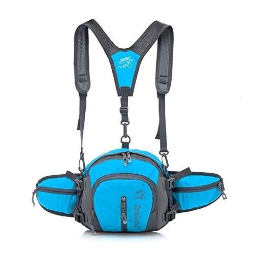 Ubagoo-Marsupio impermeabile, Cintura da corsa con bottiglia d'acqua per escursionismo e ciclismo, corsa e arrampicata, campeggio blu