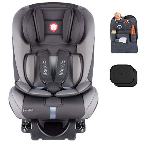 Auto-Kindersitz LIONELO SANDER ISOFIX 0-36 kg Grau Drehsitz + Organizer + Sonnenblenden