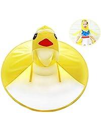 Impermeable de UFO, Sombrero del Paraguas de los niños, Pato Amarillo Lindo para los niños, Impermeable con Capucha Impermeable de la Capa Plegable para los Muchachos y Las Muchachas