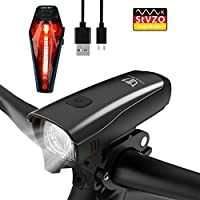 StVZO Zugelassen LED Fahrradlicht Set, Degbit USB Wiederaufladbare LED Fahrradbeleuchtung Set, Fahrradlampe Set inkl, LED Frontlichter und Rücklicht, 2600mAh Akku USB Aufladbare Fahrradlichter