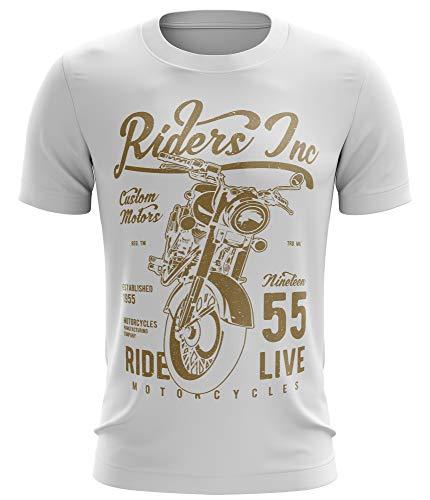 Stylotex Fitness T-Shirt Herren Sport Shirt Riders Inc Gym Tshirts für Performance beim Training | Männer Kurzarm | Funktionelle Sport Bekleidung, Größe:L, Farbe:Weiss
