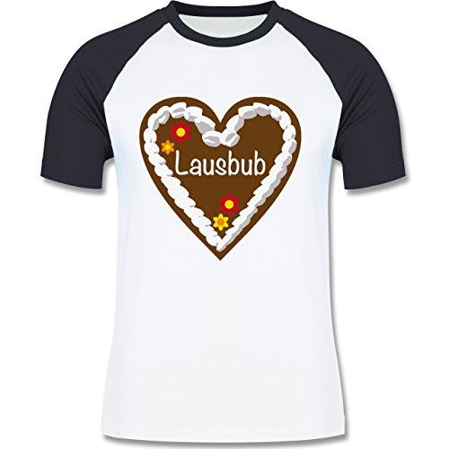 Oktoberfest Herren - Lebkuchenherz Lausbub - zweifarbiges Baseballshirt für Männer Weiß/Navy Blau