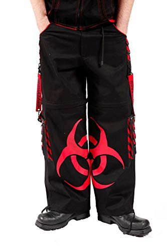 Dead Threads Herren Rot Gothic Rave Cyber Punk Hose Gr. Small, Mehrfarbig - Black & Red