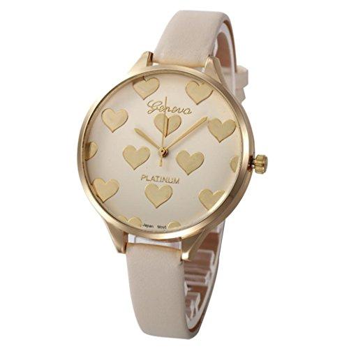 Relojes Mujer,Xinan Reloj de Pulsera Analógico de Cuarzo Cuero Imitación (Beige)