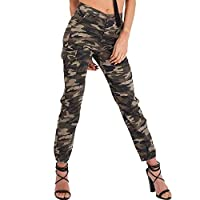 Simply Chic Outlet New Womens High Waist Cuffed Hem Cargo Ankle Grazer Trousers (6, Camouflage)