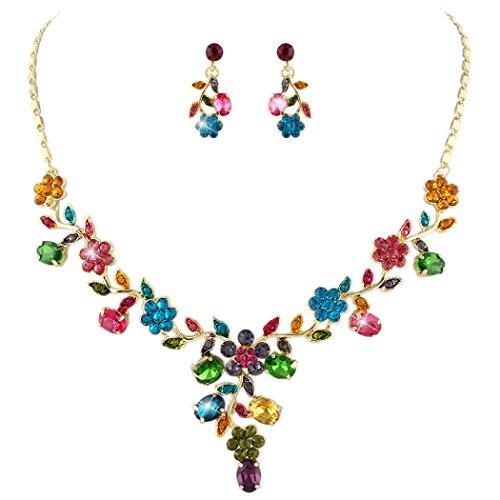 TENYE oesterreichische Kristall Braut Blume Blatt Halskette Ohrringe Set bunt Gold-Ton