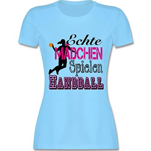 Handball - Echte Mädchen Spielen Handball - S - Hellblau - L191 - Damen Tshirt und Frauen T-Shirt