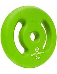 2x disques d'haltères 100% fonte de 1 kg, 2 kg, 3 kg, 4 kg, 5 kg/colorés selon le poids! Perçage de 30/31 mm avec film néoprène pour l'amortissement. Utilisation variable: haltère court ou haltère long