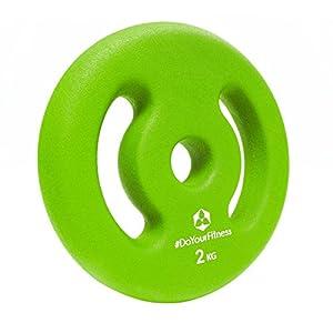 2x Hantelscheiben aus 100% Gusseisen in 1kg 2kg 3kg 4kg 5kg / farblich codiert je nach Gewichtsklasse! 30/31mm Bohrung mit bunten Neoprenüberzug zur Dämpfung. Variable Einsatz als Gewichte bzw. Hanteln ideal für Langhantel oder Kurzhantel 2kg / grün