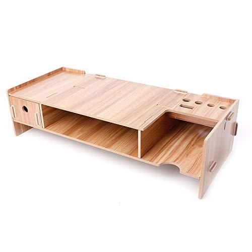 CCMOO Speicherplatz Für Computer Laptop Holz Desktop Monitor Riser T Ständer Halter Über Tastatur Schreibtisch Organizer-Holz -