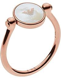 Emporio Armani Damen-Ring Edelstahl Glasstein (rosé)