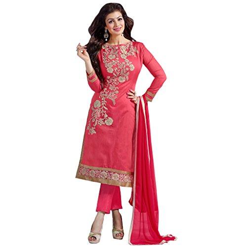 Shoponbit New Coral Color Chanderi Cotton Salwar Suit
