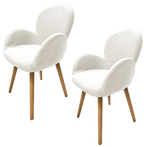 MCTECH® 2x Stuhl Esszimmerstühle Esszimmerstuhl Stuhlgruppe Konferenzstuhl Küchenstuhl Armlehne Büro mit Massivholz Eiche Bein (Type G, Beige) -