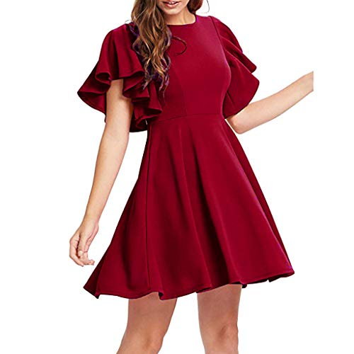 Vimoli Kleider Damen lässig dehnbar eine Linie Schaukel Kleid ausgestellt Skater Cocktail Strandleid Party Minikleid (Rot,De-38/CN-M)
