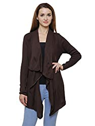 MansiCollections Brown Asymmetric Cardigan for Women