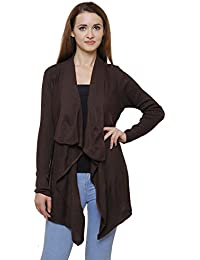 MansiCollections Brown Asymmetric Cardiagn for Women