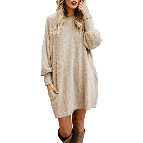 Hemd Damen Internet Solide O-Neck Pocket Long Pullover Langarm beiläufige lose Pullover (beige, L)
