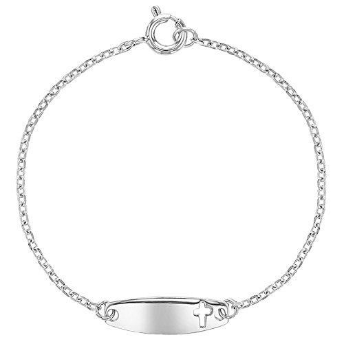 In Season Jewelry Säugling Kinder - Armband Identifikations Kennzeichnen Religiös Kreuz 925 Sterling Silber 13cm