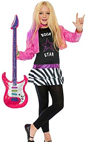 hen Rockstar Miley Komplettkostüm Kind- Rock Pop inklusive aufblasbare Gitarre, pink, 6-8 Jahre ()