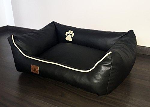 Hundebett Kunst Leder Luxus Hundebett Hundesofa Katzenbett Hundekorb S M L XL XXL XXXL Dollaro (L (ca. 90x70 cm), schwarz) - 2